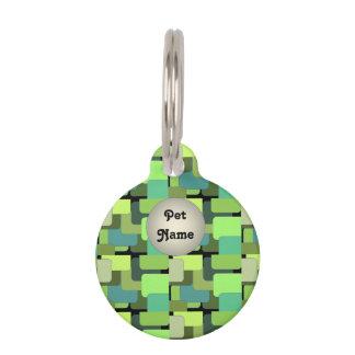 緑のエメラルドのライムのヒスイのモダンの抽象芸術 ペット ネームタグ