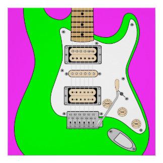 緑のエレキギター ポスター
