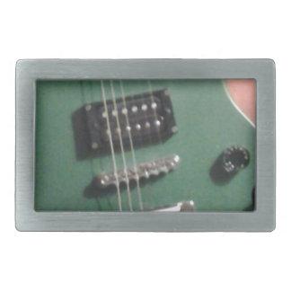 緑のエレキギター 長方形ベルトバックル