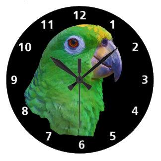 緑のオウムのカスタマイズ可能な時計 ラージ壁時計