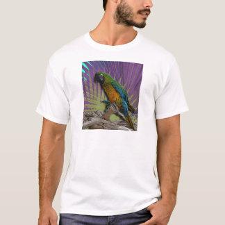 緑のオウム及びやしTシャツ Tシャツ