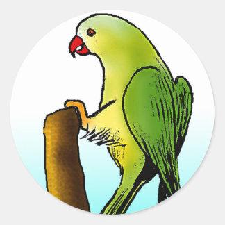 緑のオウム ラウンドシール