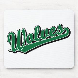 緑のオオカミの原稿のロゴ マウスパッド