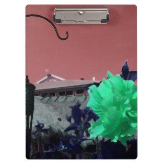 緑のオレンジを絵を描くホックおよびハイビスカスの花 クリップボード