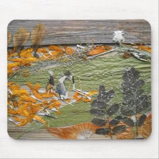緑のオレンジ分野 マウスパッド