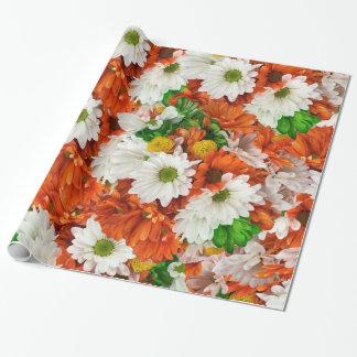 緑のオレンジ白い植物相 ラッピングペーパー
