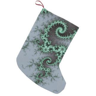 緑のオーナメント-スタイリッシュなフラクタルデザイン スモールクリスマスストッキング