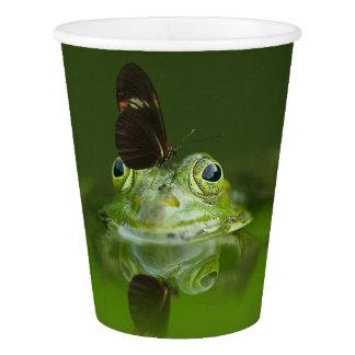 緑のカエルおよび蝶 紙コップ