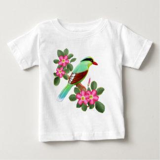緑のカササギの乳児のTシャツ ベビーTシャツ