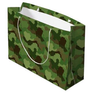 緑のカムフラージュまたは軍隊またはハンターの迷彩柄のギフトバッグ ラージペーパーバッグ