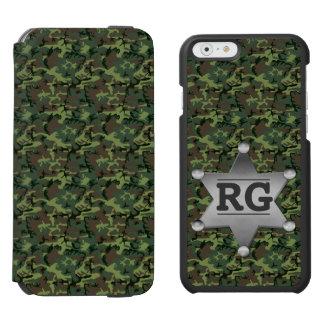 緑のカムフラージュパターン保安官のバッジのモノグラム iPhone 6/6Sウォレットケース