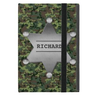 緑のカムフラージュパターン保安官の名前入りの記章 iPad MINI ケース