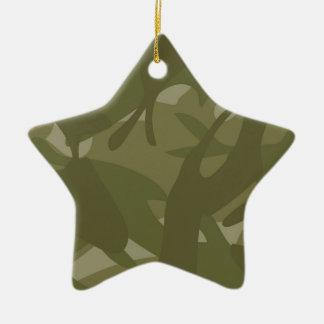 緑のカムフラージュ 陶器製星型オーナメント