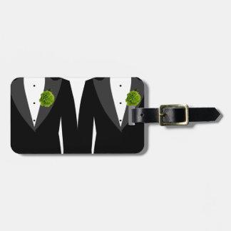緑のカーネーションの陽気な新婚旅行の新郎の荷物のラベル ラゲッジタグ