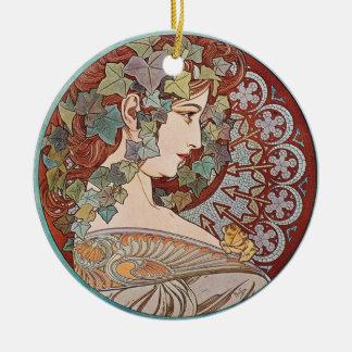 緑のキヅタの女神の芸術 陶器製丸型オーナメント