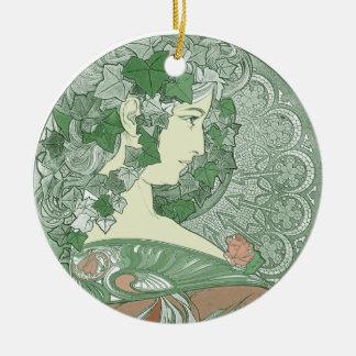 緑のキヅタの女神 陶器製丸型オーナメント