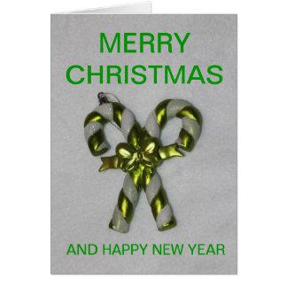 緑のキャンディ・ケーンのクリスマスカード カード
