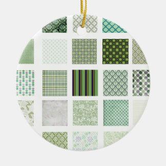 緑のキルトのモザイク模様 セラミックオーナメント