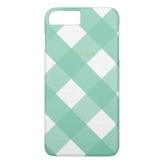 緑のギンガムのiPhone 7のプラスの場合 iPhone 8 Plus/7 Plusケース