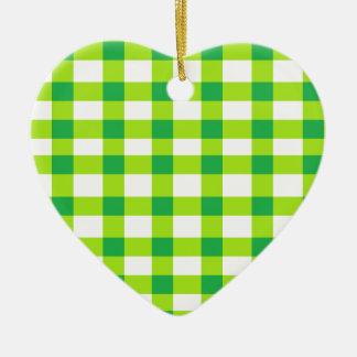 緑のギンガム セラミックオーナメント