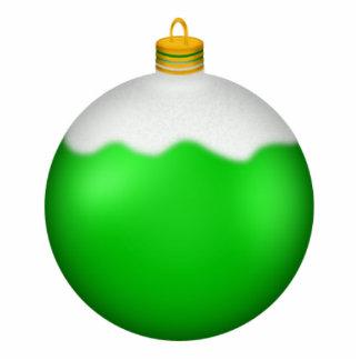 緑のクリスマスのオーナメントのフォトスカルプチャー 写真彫刻(台付き)