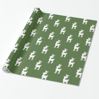緑のクリスマスのトナカイパターン ラッピングペーパー