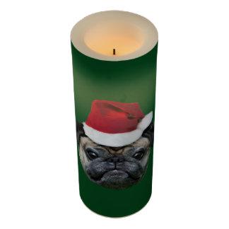 緑のクリスマスのパグ犬高いLEDの蝋燭 LEDキャンドル