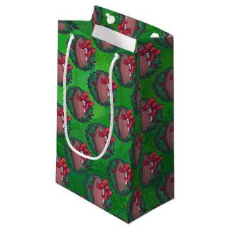 緑のクリスマスのリースのフットボール スモールペーパーバッグ