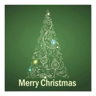 緑のクリスマスの挨拶状 カード
