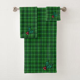 緑のクリスマスの格子縞タオルセット バスタオルセット