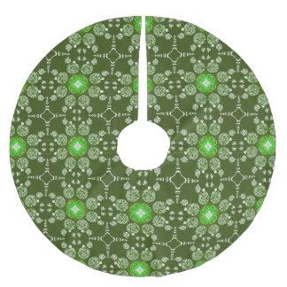 緑のクリスマスの装飾的なポインセチアパターン ブラッシュドポリエステルツリースカート