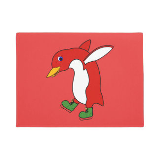 緑のクリスマスの赤いペンギンはアイススケートします ドアマット