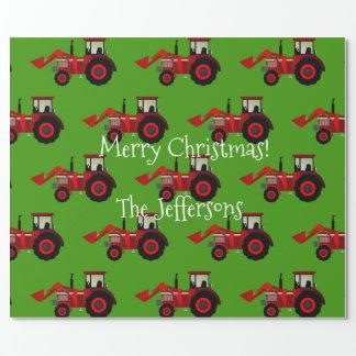 緑のクリスマスの赤い農場トラクター ラッピングペーパー