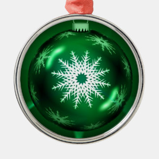 緑のクリスマスの雪片のオーナメント メタルオーナメント