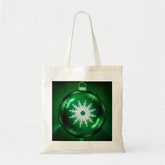 緑のクリスマスの雪片のトートバック トートバッグ