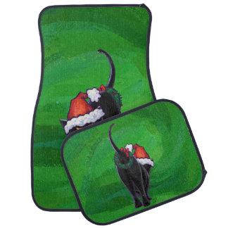 緑のクリスマスの黒猫 カーマット