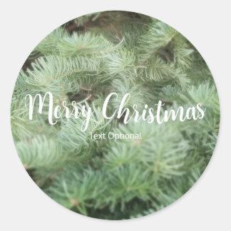 緑のクリスマスツリーのマツ休日のパーティの好意 ラウンドシール