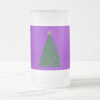 緑のクリスマスツリー、紫色馬を走る金ゴールド フロストグラスビールジョッキ