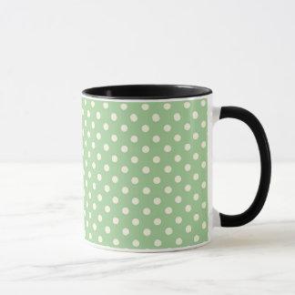 緑のクリーム色の水玉模様 マグカップ