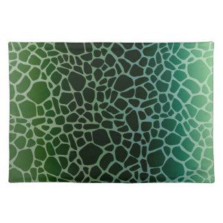 緑のグラデーションなキリンのプリント ランチョンマット
