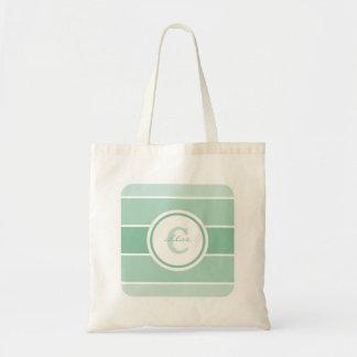 緑のグラデーションなモノグラム トートバッグ