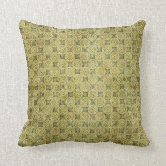 緑のグランジな円パターン クッション