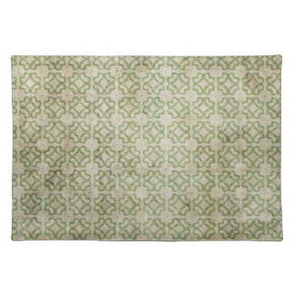 緑のグランジな花模様 ランチョンマット