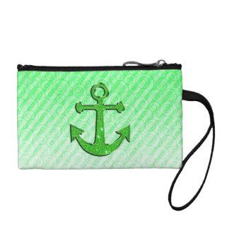 緑のグリッターのいかりの粋なイメージはの縞で飾ります コインパース