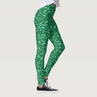 緑のグリッターのクリスマスの時間 レギンス