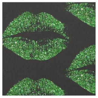 緑のグリッターの唇 ファブリック