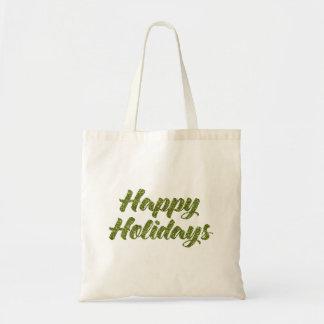 緑のグリッターの幸せな休日のギフトバッグ トートバッグ