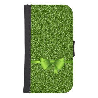 緑のグリッターの弓リボン ウォレットケース
