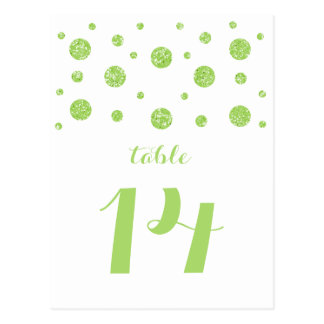 緑のグリッターの紙吹雪のテーブル数郵便はがき ポストカード