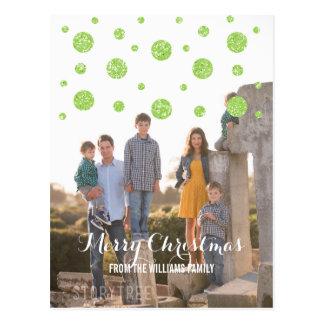 緑のグリッターの紙吹雪の休日の写真の郵便はがき ポストカード
